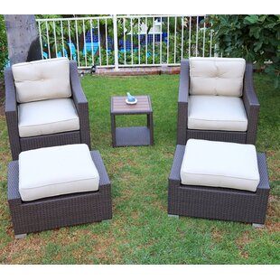World Wide Wicker Tampa 5 Piece Conversation Set with Cushions