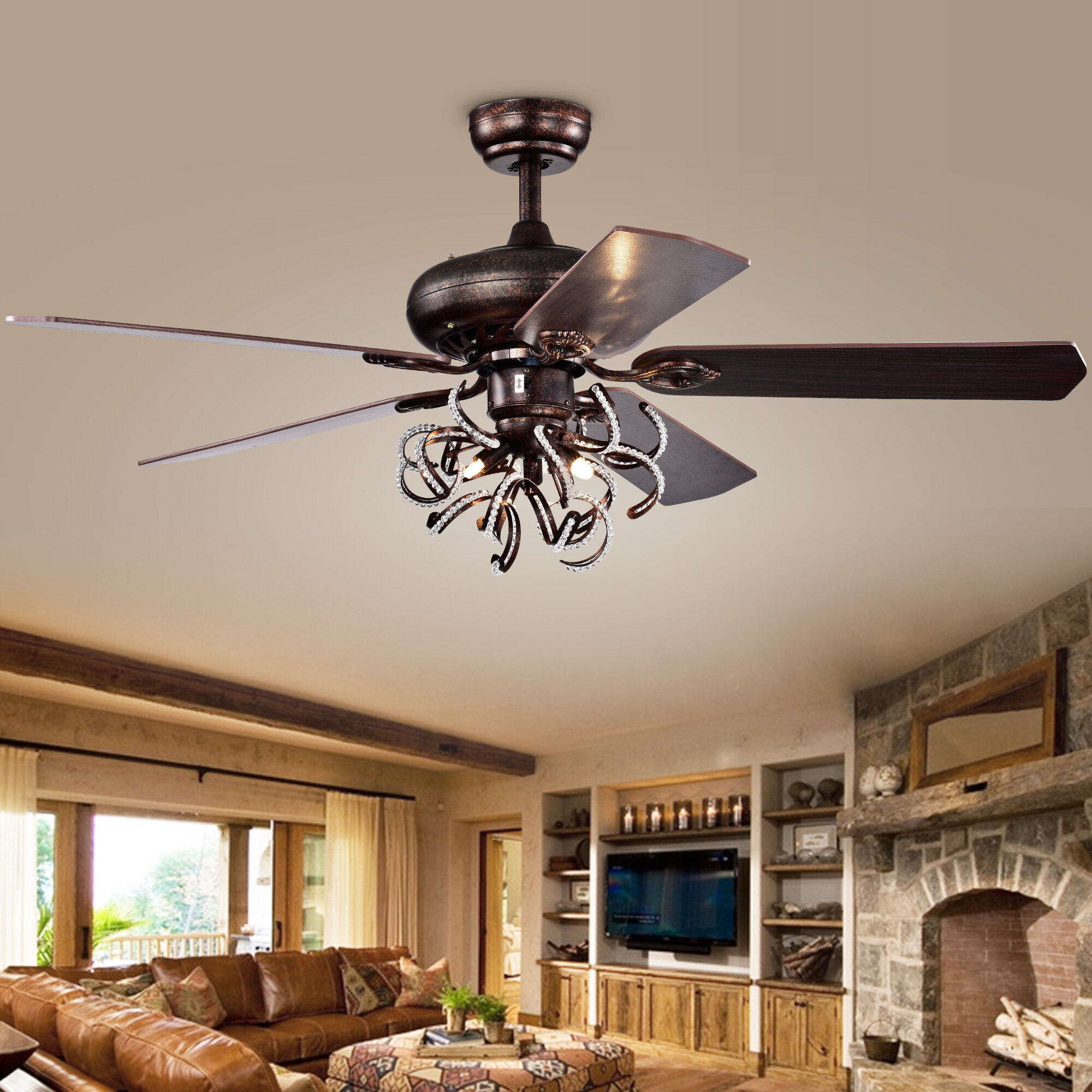 Rosdorf Park Christiansen 5 Blade Crystal Ceiling Fan With Remote Control And Light Kit Included Reviews
