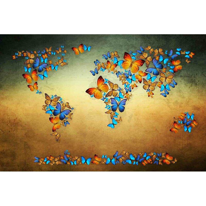 Zoomie Kids Butterfly World Map Iii Acrylic Painting Print On