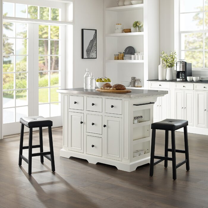 Excellent Gael Island W Uph Saddle Stools Kitchen Island 2 Counter Height Bar Stools Pabps2019 Chair Design Images Pabps2019Com