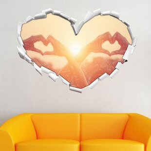 Two Girls Show Heart Shape At Sunset Wall Sticker By East Urban Home