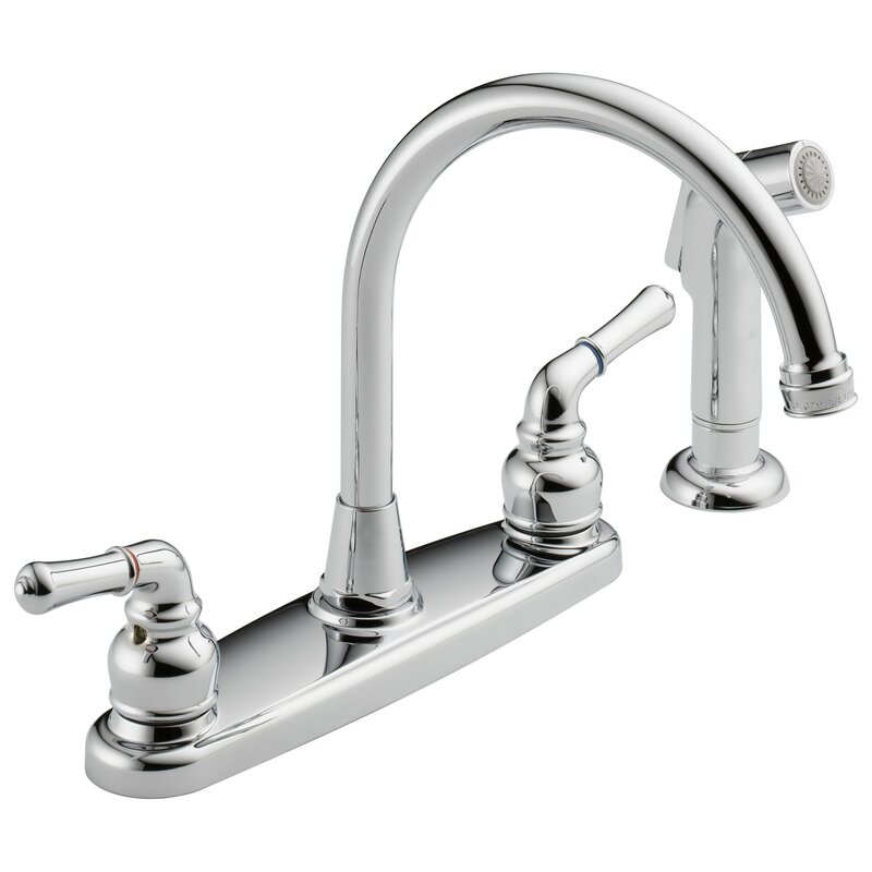 Westbrass Hi Arc Double Handle Standard Kitchen Faucet With Side