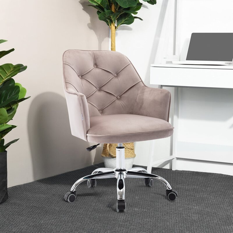 Corrigan Studio Swivel And Height Adjustable Velvet Home Office Chair With Wheels And Arms Wayfair