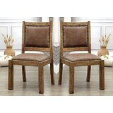 Nickelsville Upholstered Solid Back Side Chair in Brown (Set of 2) by Loon Peak®