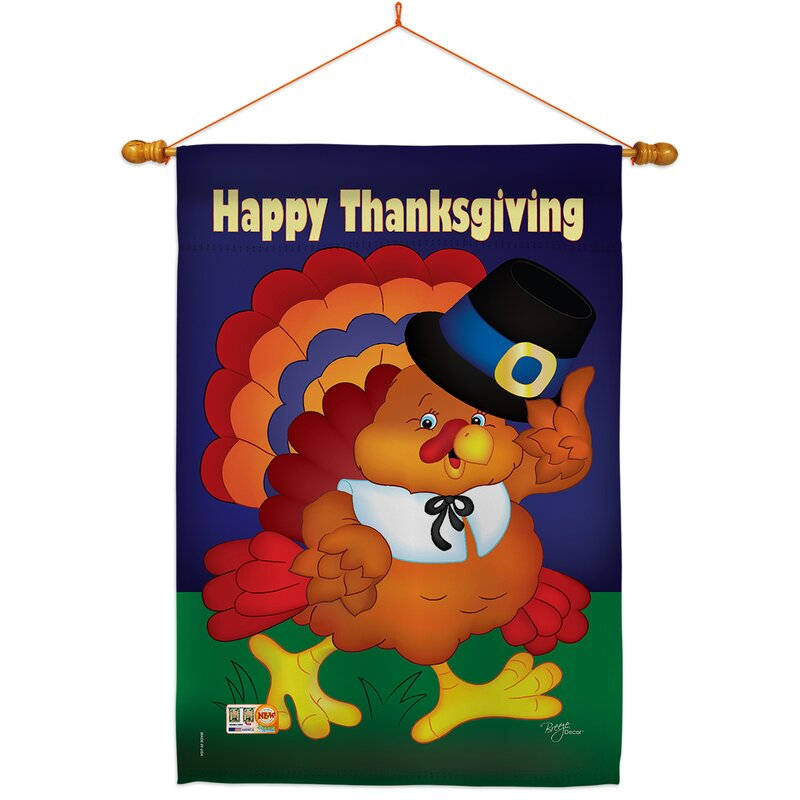 Breeze Decor Happy Thanksgiving Turkey Impressions Decorative 2 Sided Polyester 40 X 28 In Flag Set Wayfair