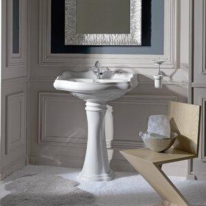 pedestal bathroom sinks. Retro Ceramic 22  Pedestal Bathroom Sink with Overflow Sinks You ll Love