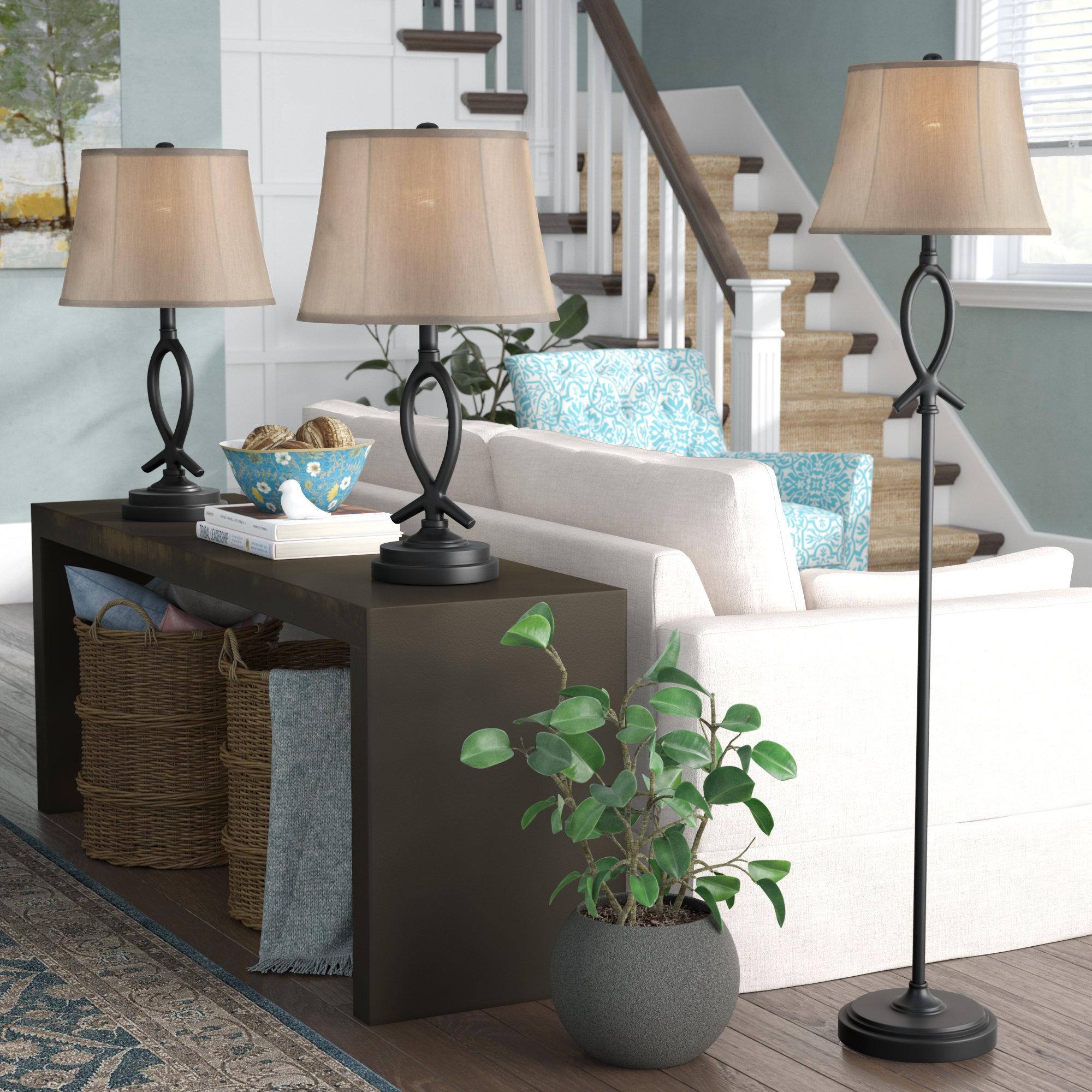 Red Barrel Studio Cardella 3 Piece Table And Floor Lamp Set