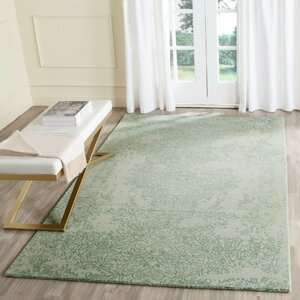 Ellicottville Hand-Tufted Gray/Turquoise Area Rug