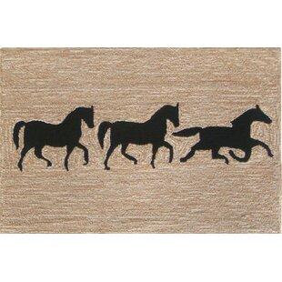 Tamara Horses Hand Tufted Beige Indoor Outdoor Area Rug