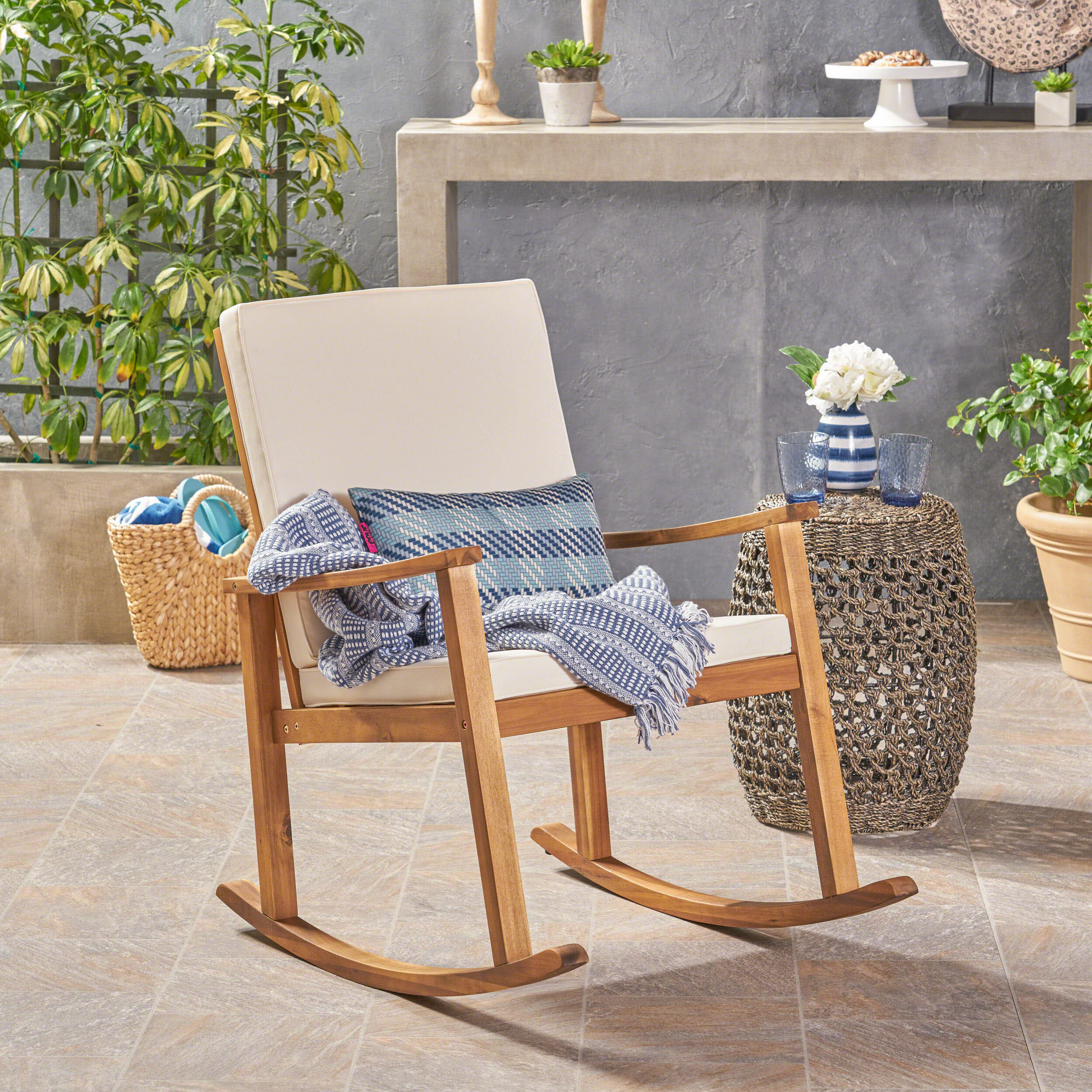Arend Outdoor Rocking Chair With Cushions