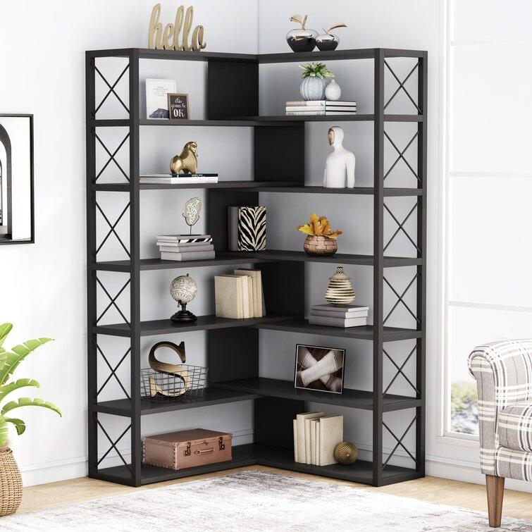 Latitude Run® 70.86'' H x 37.4'' W Corner Bookcase | Wayfair