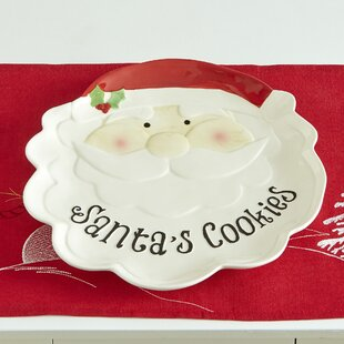 Johnsen Santa Cookie Earthenware Platter (Set of 2)
