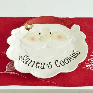 Johnsen Santa Cookie Earthenware Platter (Set of 2)