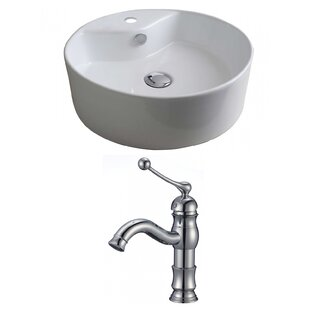 Best Ceramic Circular Vessel Bathroom Sink with Faucet and Overflow ByAmerican Imaginations