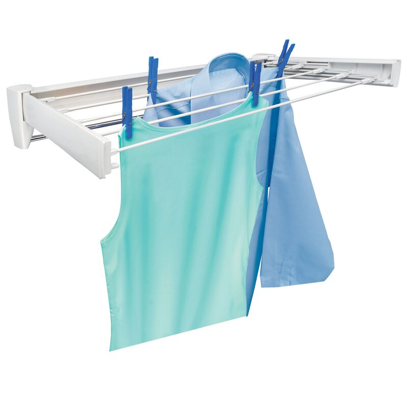Nice Telegant 70 Retractable Wall Mount Clothes Drying Rack With Towel Bar