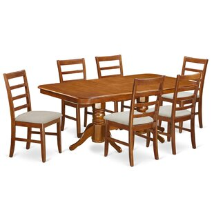 Pillsbury 7 Piece Wood Dining Set with Double Pedestal Table Legs