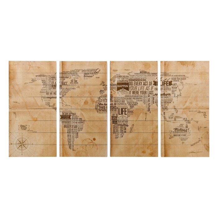 \'World Map\' Graphic Art Print on Wood