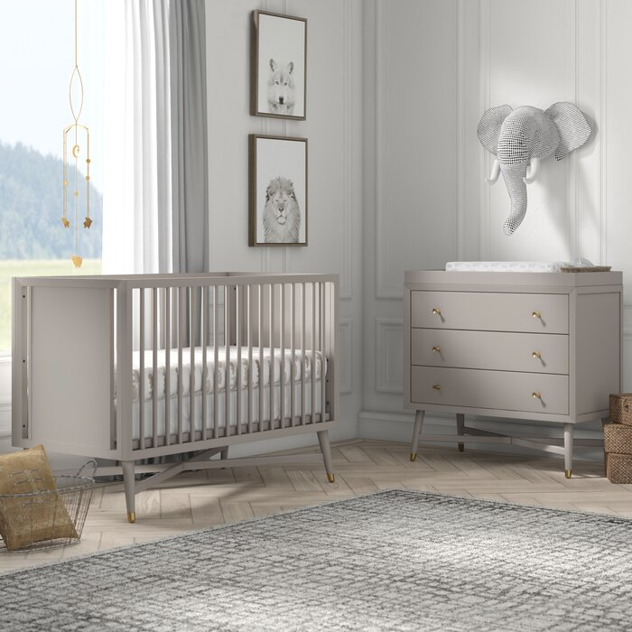 Mcpartland Mid Century 3 In 1 Convertible Standard 2 Piece Nursery Furniture Set