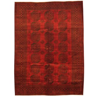 Comparison Tribal Turkoman Hand-Knotted  Red/Black Area Rug ByHerat Oriental