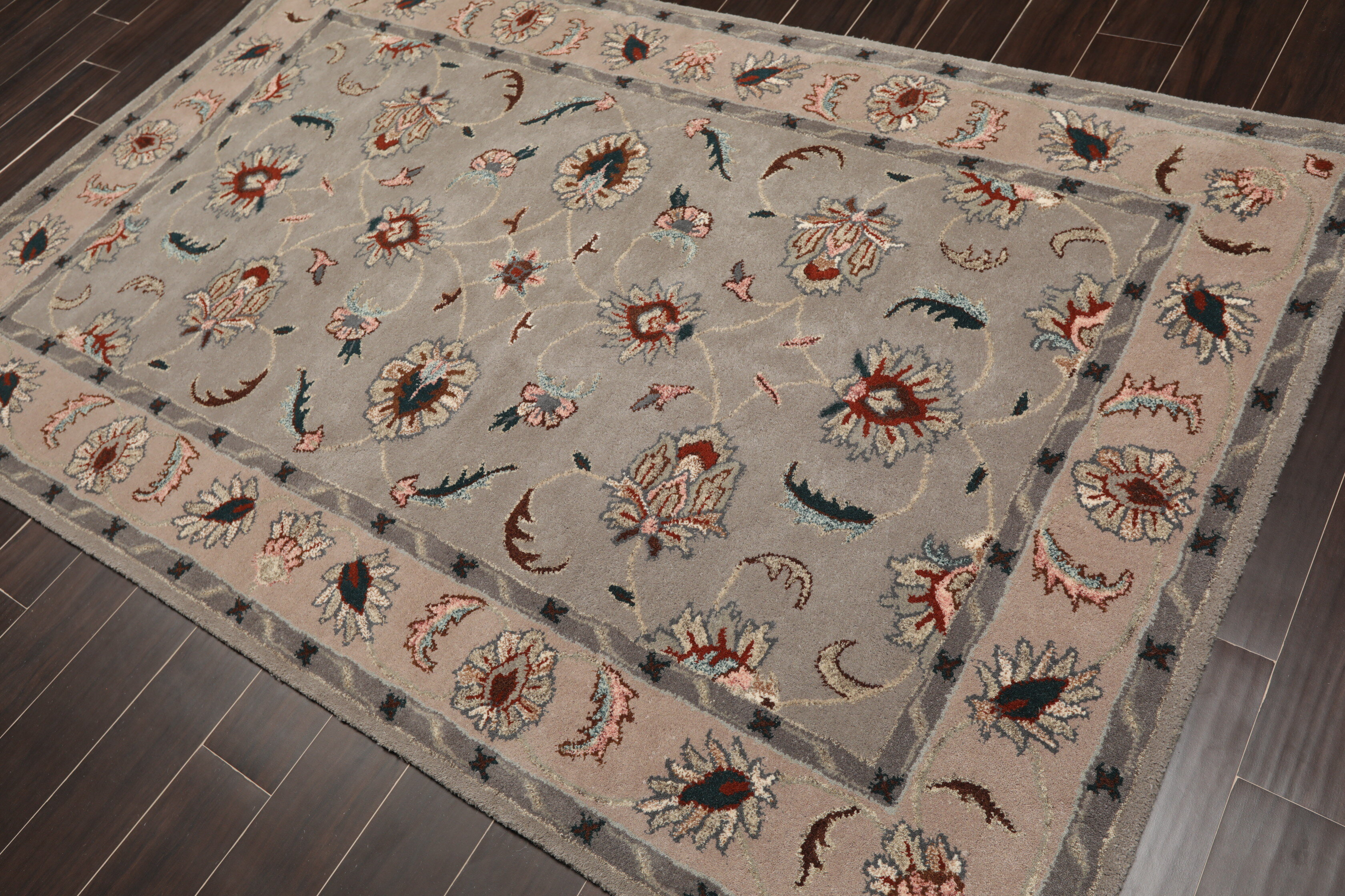 Red Barrel Studio Fleta Persian Oriental Hand Tufted Wool Gray Beige Area Rug Wayfair