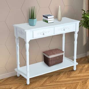 Jermaine Two Drawer Wooden Entryway Console Table ByCharlton Home