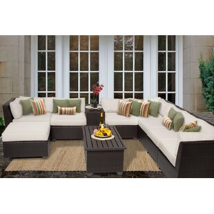 Barbados 10 Piece Sectional Seating Group with Cushions By TK Classics