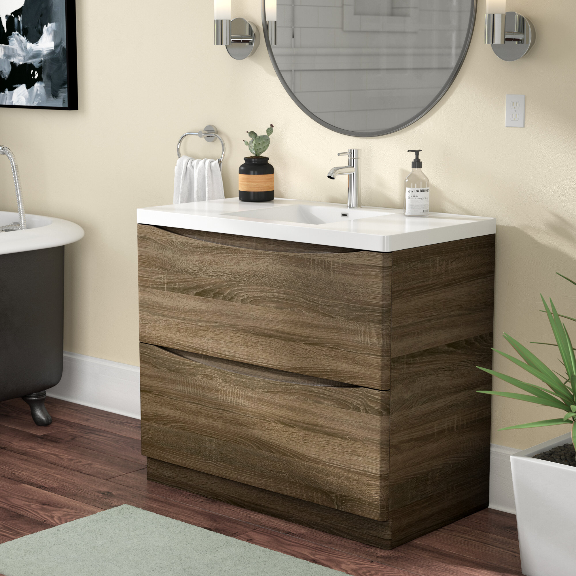 "Trent Austin Design Blondene Floor Mount Modern 9"" Single Bathroom ..."