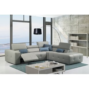 Orren Ellis Chase Leather Reclining Sectional