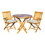 Everleigh 3 Piece Teak Sunbrella Bistro Set with Cushions