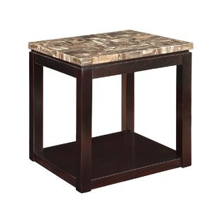 Matthies Marble Top Wooden End Table
