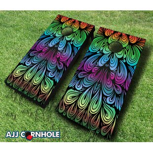 AJJ Cornhole 10 Piece Rainbow Swirl Cornhole Set