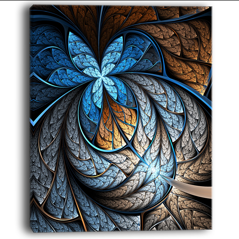 Designart Blue Brown Fractal Flower Pattern Graphic Art On Wrapped Canvas Wayfair
