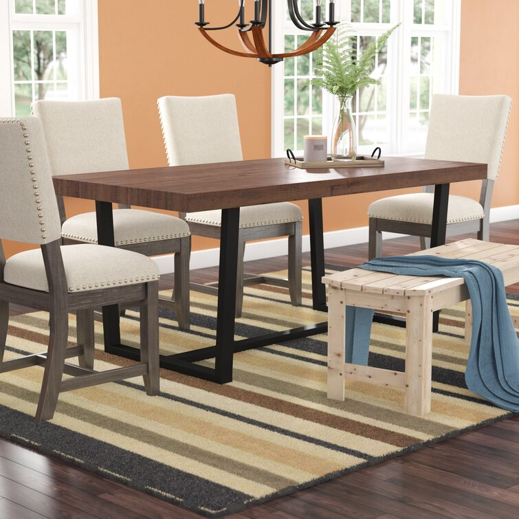 Union Rustic Minerva 36 Pine Solid Wood Trestle Dining Table Reviews Wayfair