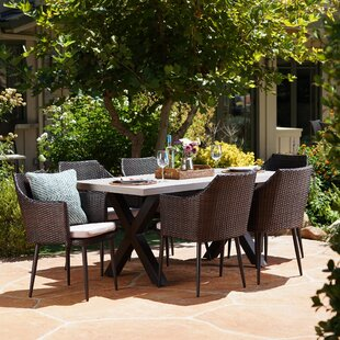Brayden Studio Callidora Outdoor 7 Piece Dining Table Set with Cushions