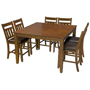 Osborne 7 Piece Solid Wood Dining Set Loon Peak