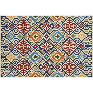 Duvig Hand-Hooked Ivory/Red Indoor/Outdoor Area Rug