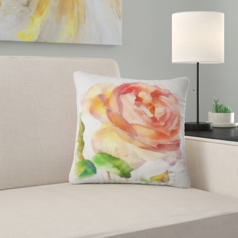 East Urban Home Floral Bloomy Rose Watercolor Drawing Pillow Wayfair