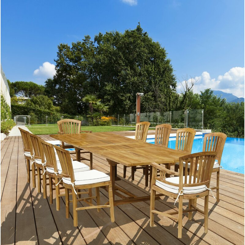 Darby Home Co Forsberg 11 Piece Teak Dining Set With Cushions Reviews Wayfair