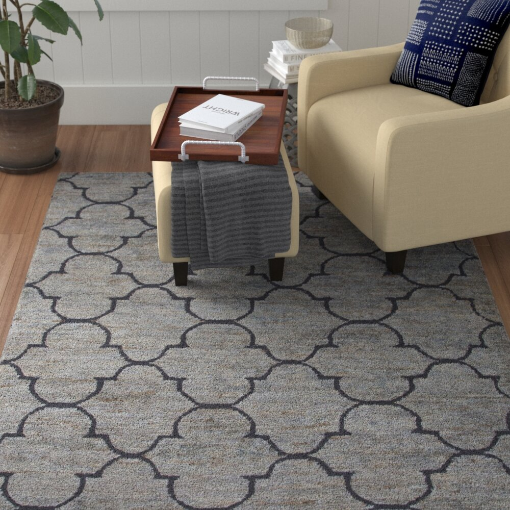 Red Barrel Studio Archer Lanehand Woven Jute And Wool Blue Area Rug