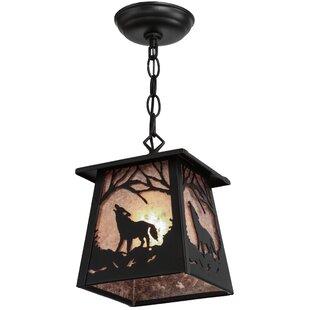 Meyda Tiffany Greenbriar Oak Wolf at Dawn 1-Light Lantern Pendant