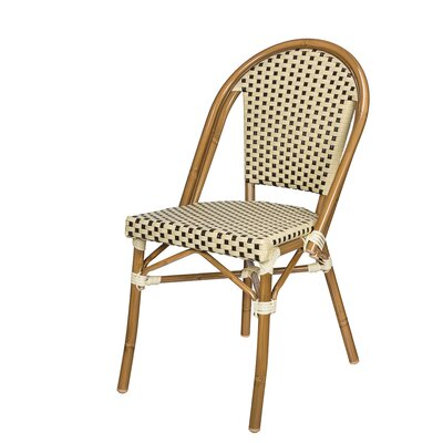 Dolly Stacking Patio Dining Chair Color: Cream/Chocolate by August Grove