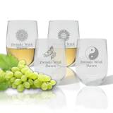 Personalized 4-Piece 14 oz. Plastic Stemless Wine Glass Set by Carved Solutions
