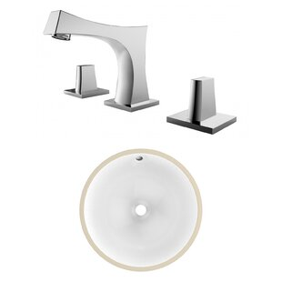 Affordable CSA Ceramic Circular Undermount Bathroom Sink with Faucet and Overflow ByAmerican Imaginations