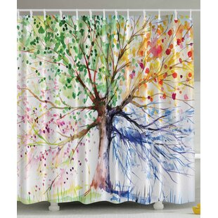 Seasons Tree Print Single Shower Curtain