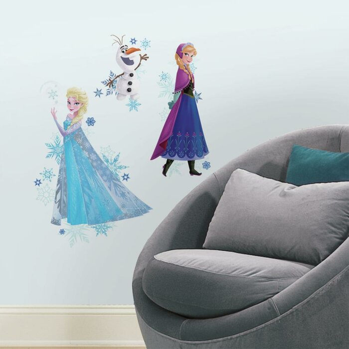 room mates internet only frozen anna, elsa, and olaf wall decal