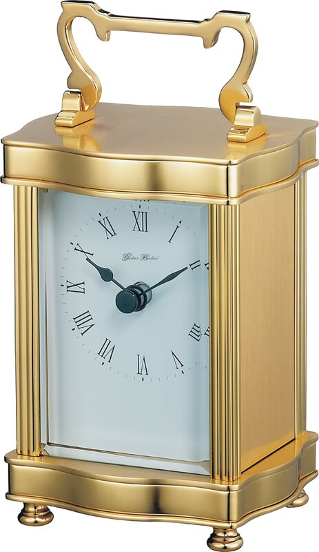 Arceau Carriage Mantel Clock in Polished Brass