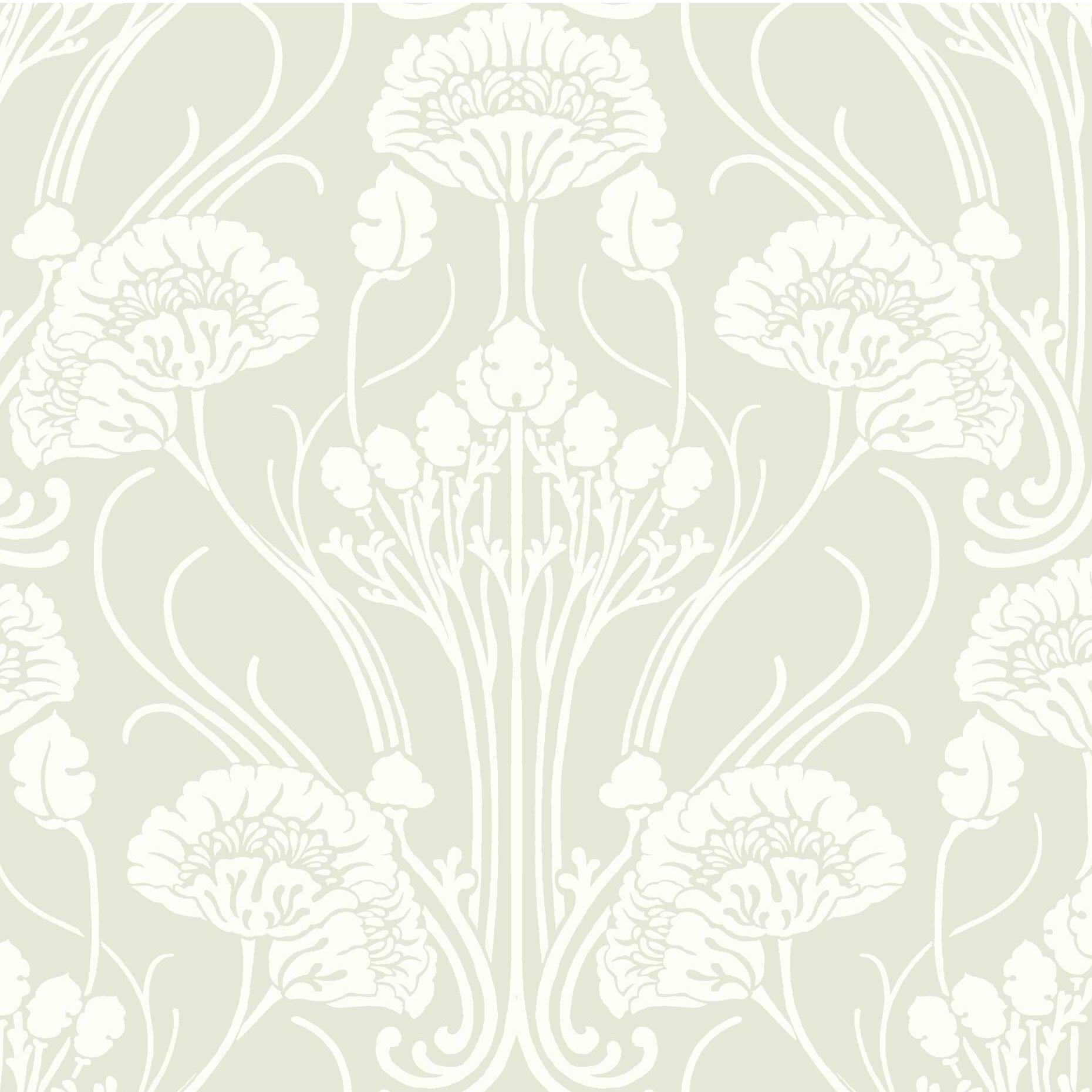Solid Vinyl Slightly Textured Damask Wallpaper Shabby Chic Style Light Grey