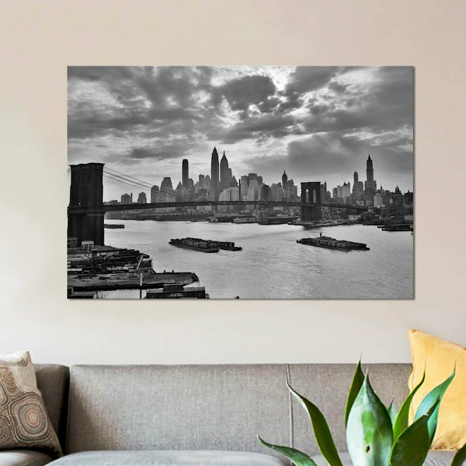 East Urban Home 1940s 1950s Dramatic Sunset Downtown New York City Skyline With Brooklyn Bridge Barges In East River Nyc Ny Usa Photographic Print On Wrapped Canvas Wayfair