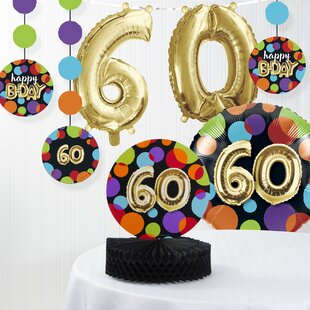 Balloon 60th Birthday Decorations Kit Set Of 7