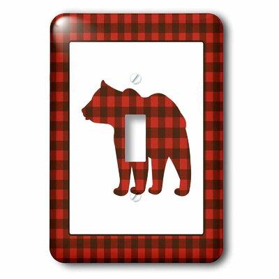 3dRose Buffalo Plaid Bear 1-Gang Toggle Light Switch Wall Plate